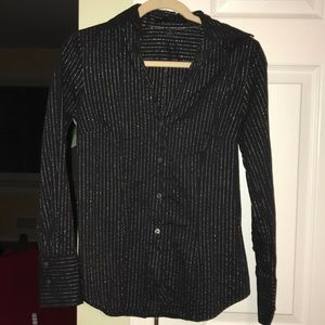 Express button down-Black and silver stripes